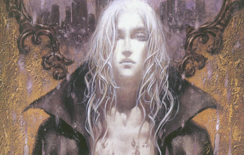 Photo wallpaper collar, vampire, art, castlevania, ayami kojima, long white hair, joachim armster