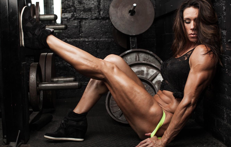 Photo wallpaper legs, power, pose, female, bodybuilder