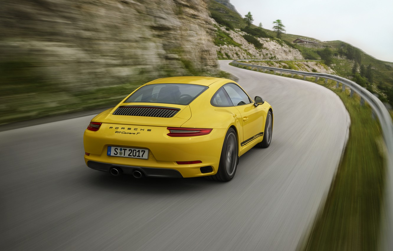 Photo wallpaper road, yellow, movement, blur, Porsche, the fence, 2018, 911 Carrera T, 370 HP