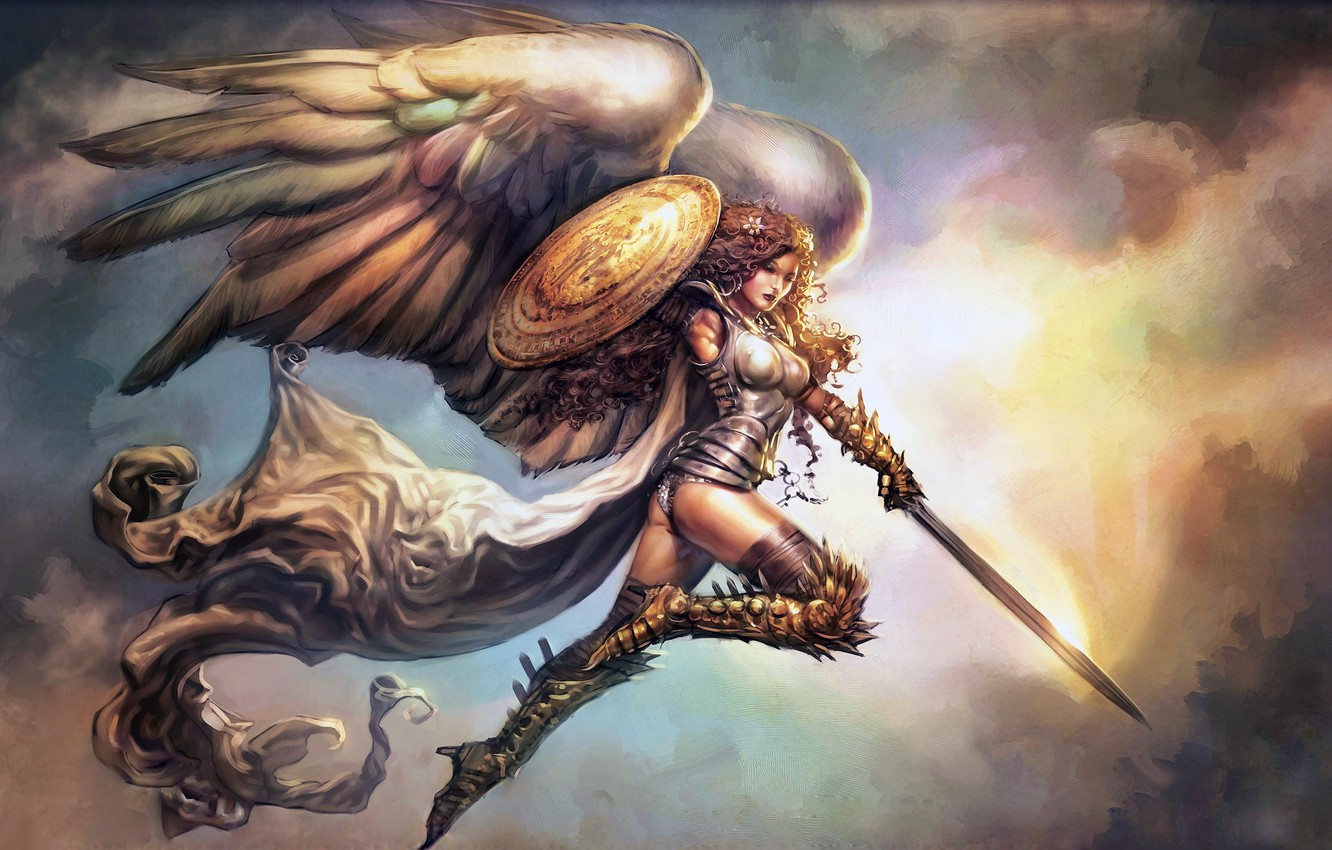 Photo wallpaper girl, sword, fantasy, armor, wings, Angel, artwork, shield, fantasy art, boots, cape, curly hair