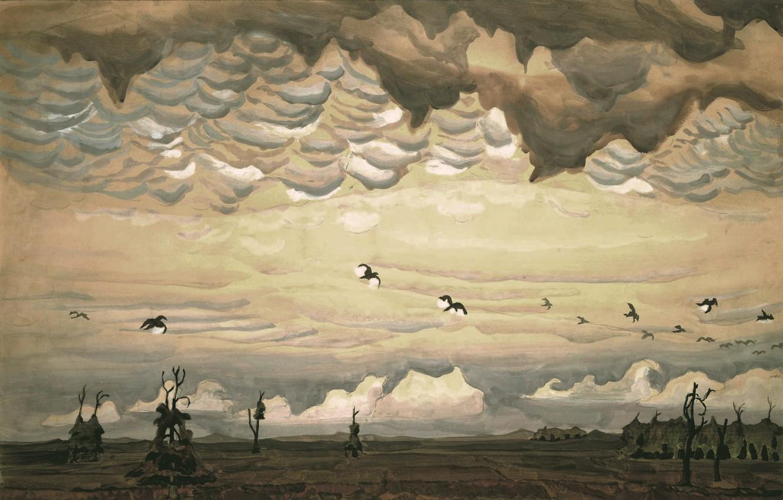 Photo wallpaper 1920, Charles Ephraim Burchfield, legionarism, Birds over Field