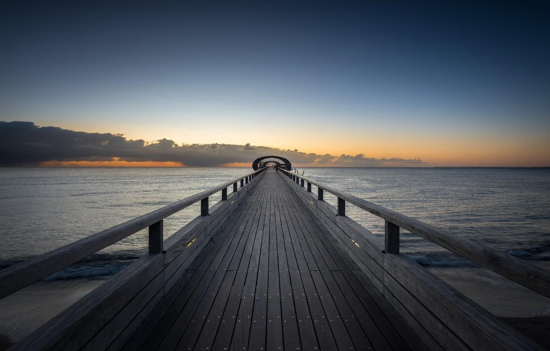 Photo wallpaper sea, bridge, the evening