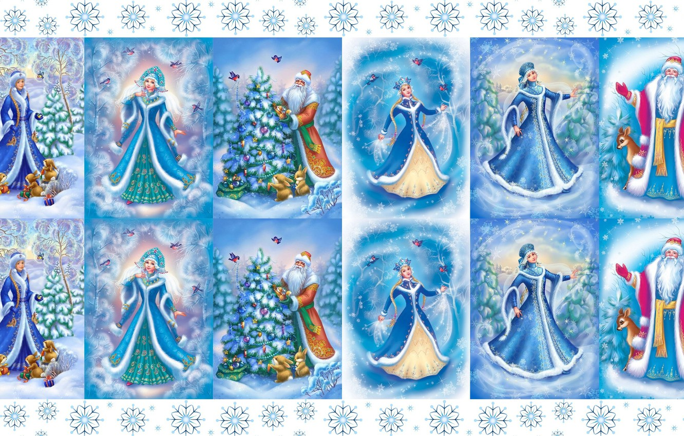 Photo wallpaper winter, mood, holiday, art, New year, maiden, Santa Claus, snowflake, postcard, children's