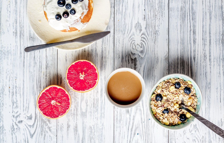 Photo wallpaper berries, Breakfast, blueberries, honey, pancakes, wood, grapefruit, breakfast, muesli
