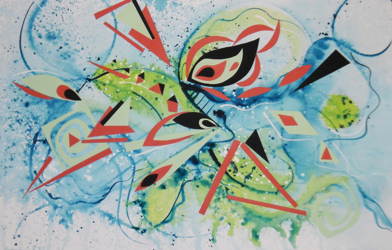Photo wallpaper red, eyes, black, blue, Figure, green, triangle, Lena Horn
