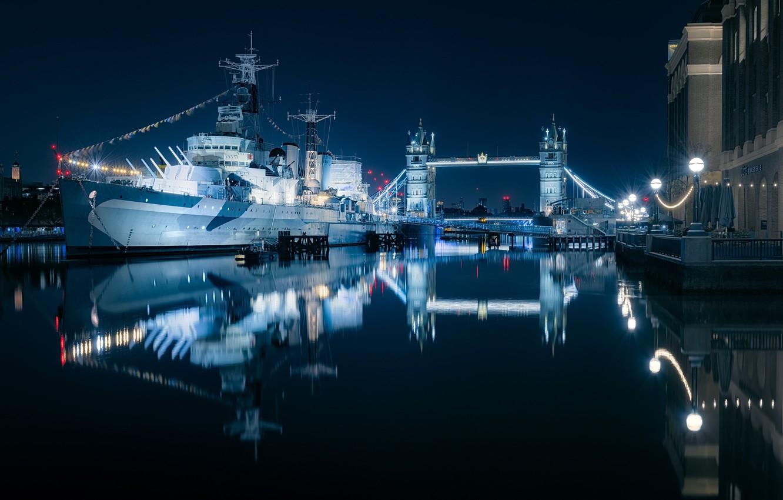 Photo wallpaper Tower Bridge, London, Thames, ship