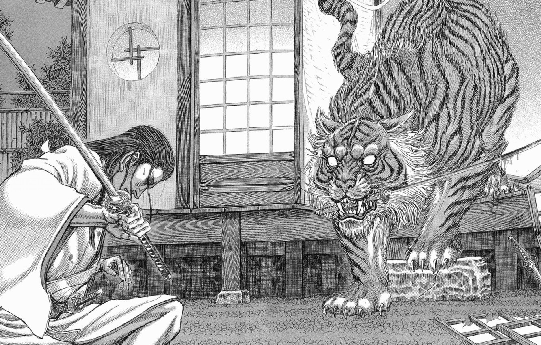 Photo wallpaper sword, blood, long hair, wood, tiger, anime, katana, man, fight, ken, animal, blade, samurai, martial …