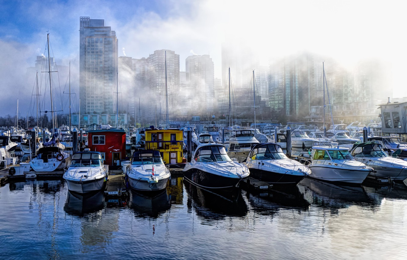 Photo wallpaper fog, home, boats, harbour