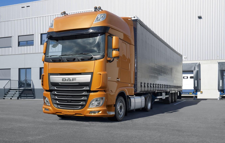 Photo wallpaper asphalt, orange, composition, DAF, tractor, DAF, Super Space Cab, the trailer, 4x2, Euro6, Low Deck, …
