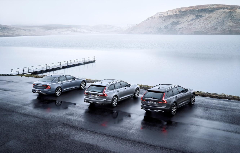 Photo wallpaper Volvo, Sedan, Car, Silver, Cross Country, Universal, 2017, S90, V90