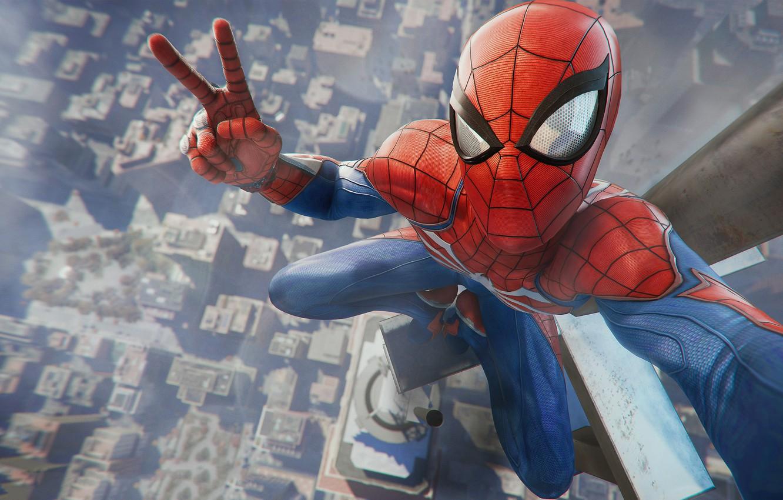 Photo wallpaper Photo, The city, The game, Costume, Building, City, Hero, Mask, Superhero, Hero, Marvel, Spider-man, Game, …