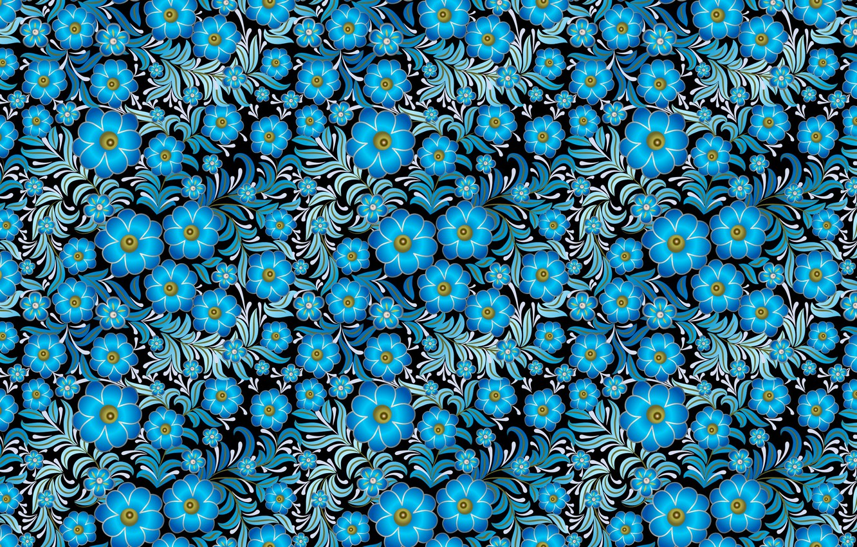 Photo wallpaper flowers, blue, pattern