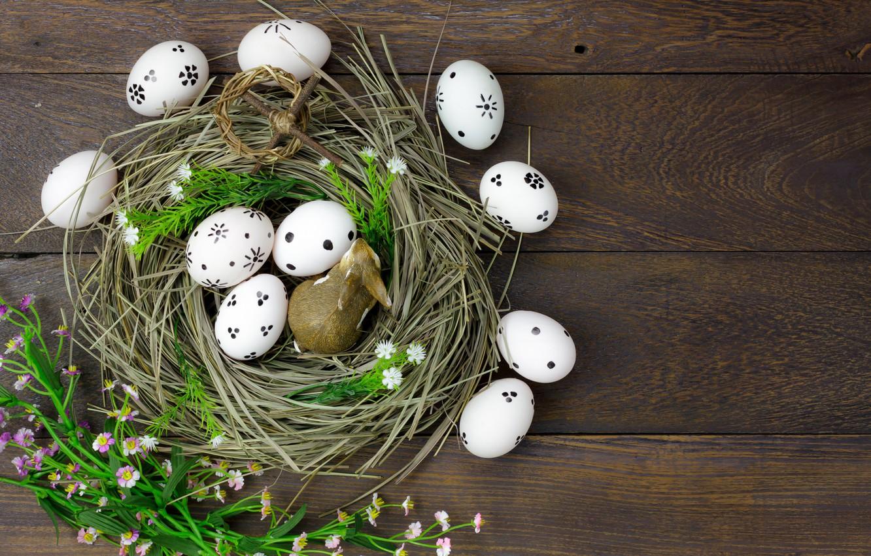 Photo wallpaper flowers, eggs, spring, Easter, hay, wood, flowers, spring, Easter, eggs, decoration, Happy