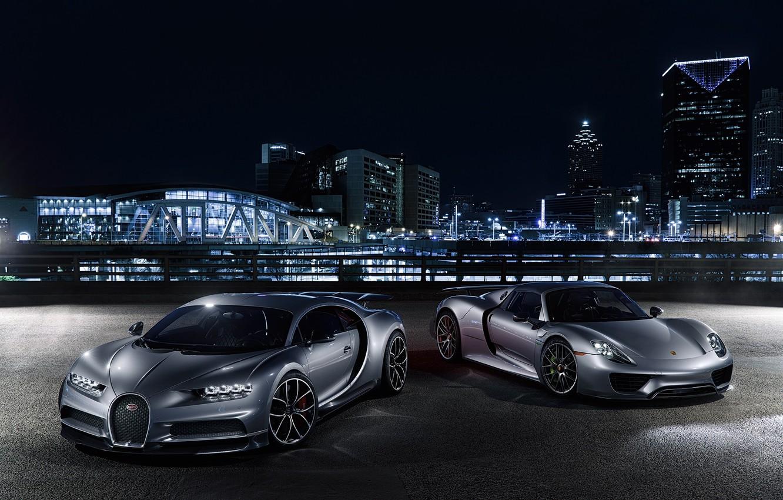 Photo wallpaper Porsche, Bugatti, City, Spyder, 918, Lights, Silver, VAG, Chiron