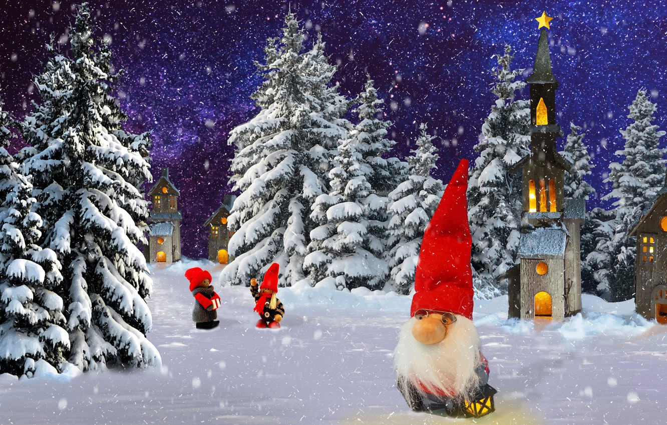 Photo wallpaper winter, nature, dwarf, the occasion.new od