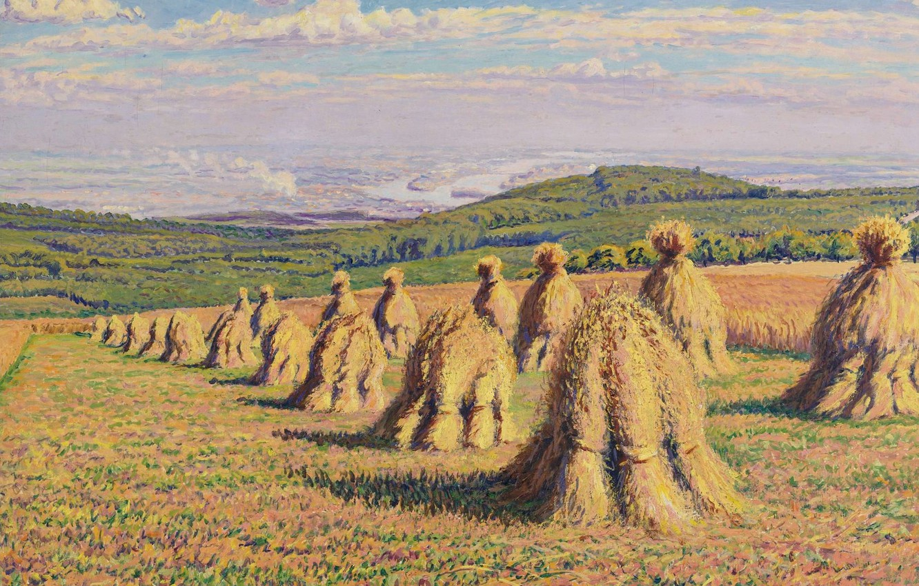 Photo wallpaper field, landscape, picture, hay, Gustave Cariot, Stack, Gustave Cairo