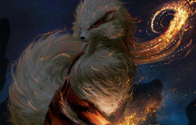 Photo wallpaper fire, flame, game, fox, anime, animal, Pokemon, japanese, spark