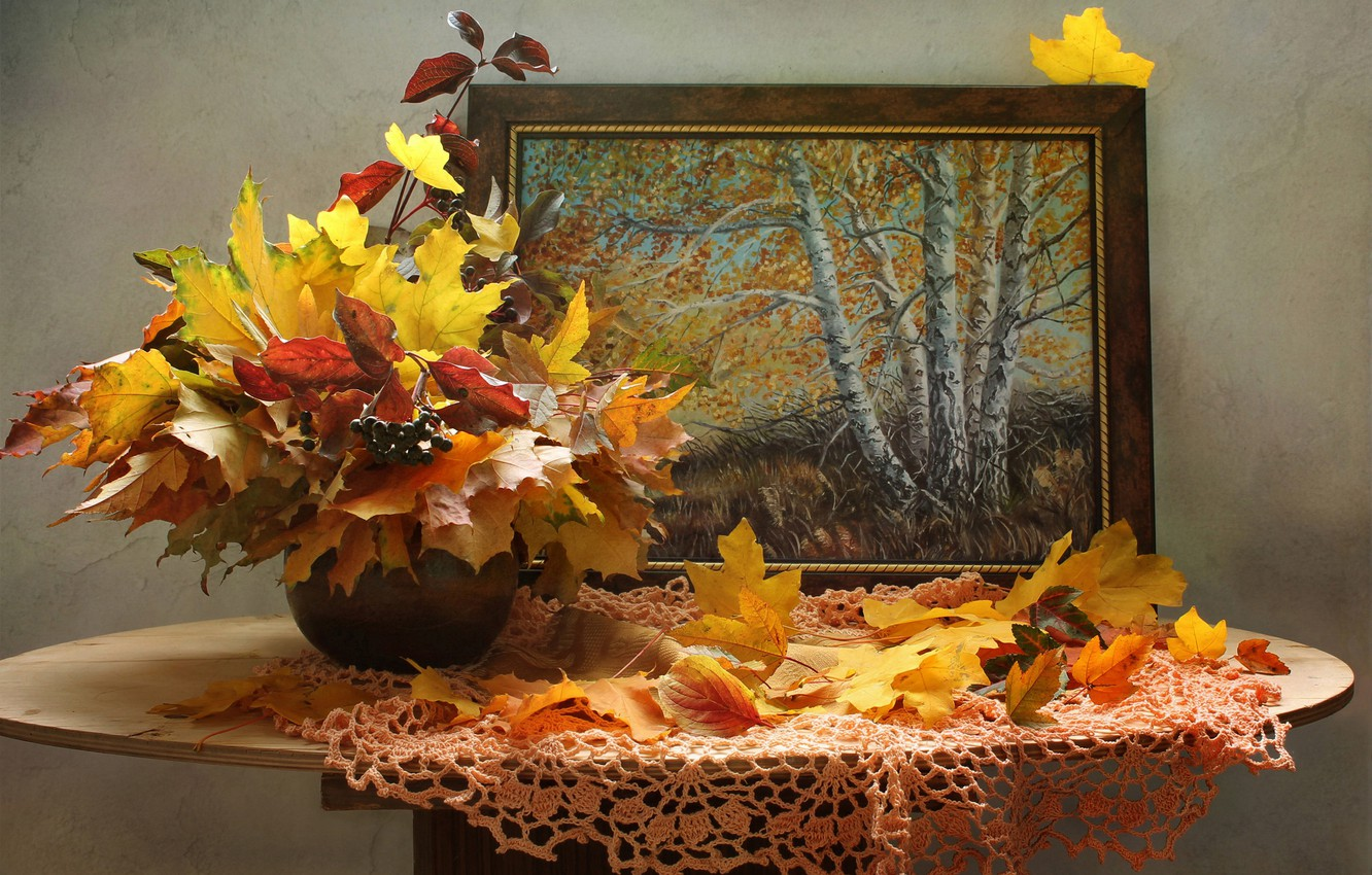 Photo wallpaper autumn, leaves, branches, berries, picture, vase, maple, table, napkin