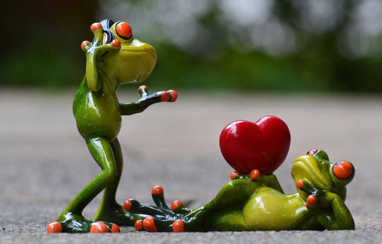 Photo wallpaper Frog, Model, heart, Lady, Posing