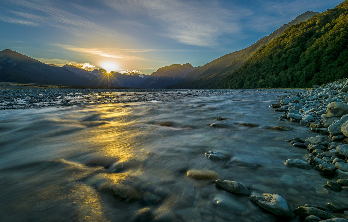 Photo wallpaper water, the sun, mountains, river, stones