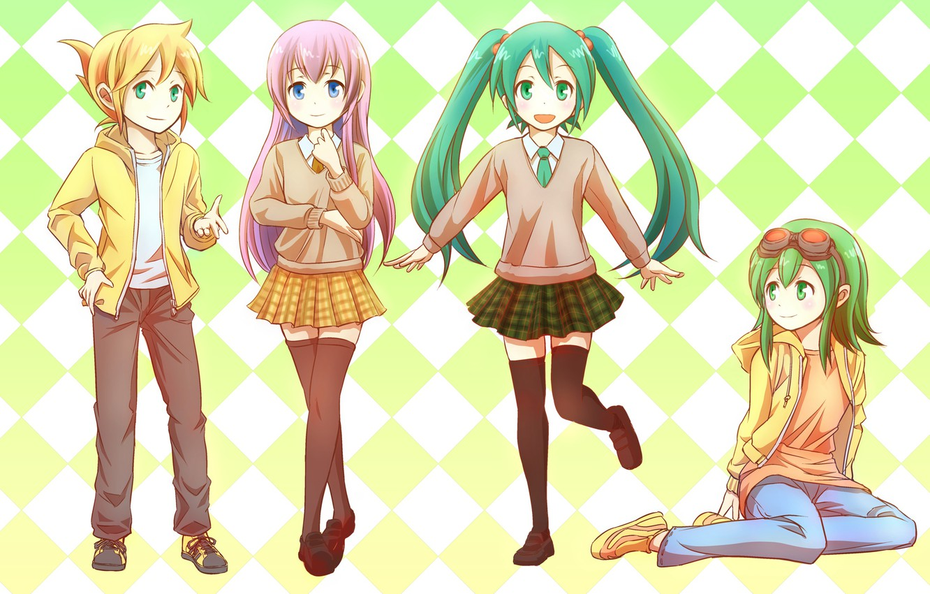 Photo wallpaper anime, art, Vocaloid, Vocaloid, characters, bright background