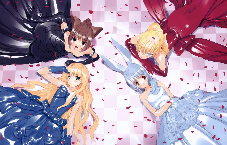 Photo wallpaper petals, Alice in Wonderland, black dress, red dress, white dress, long hair, art, alice, alice …