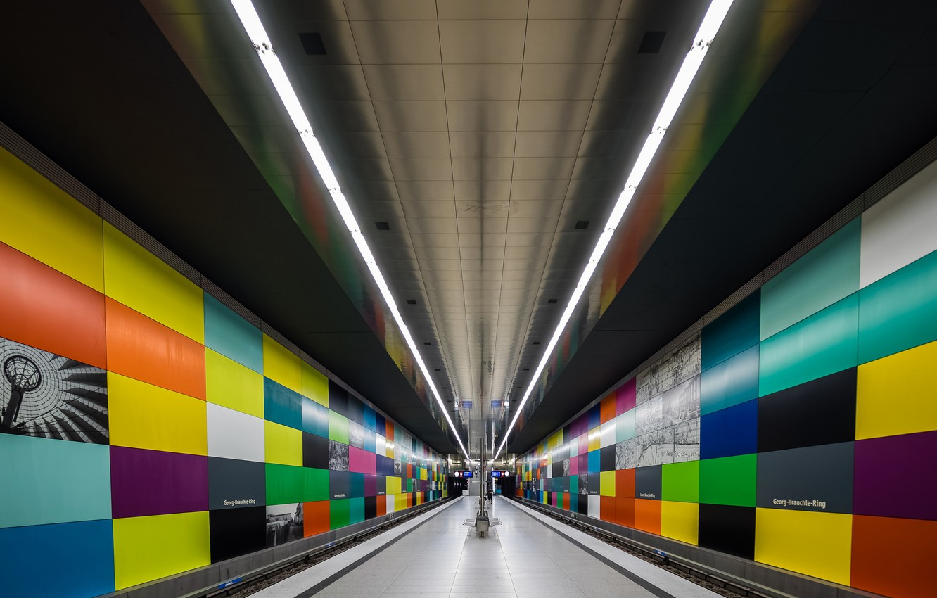 Photo wallpaper metro, station, Germany, Munich, the platform