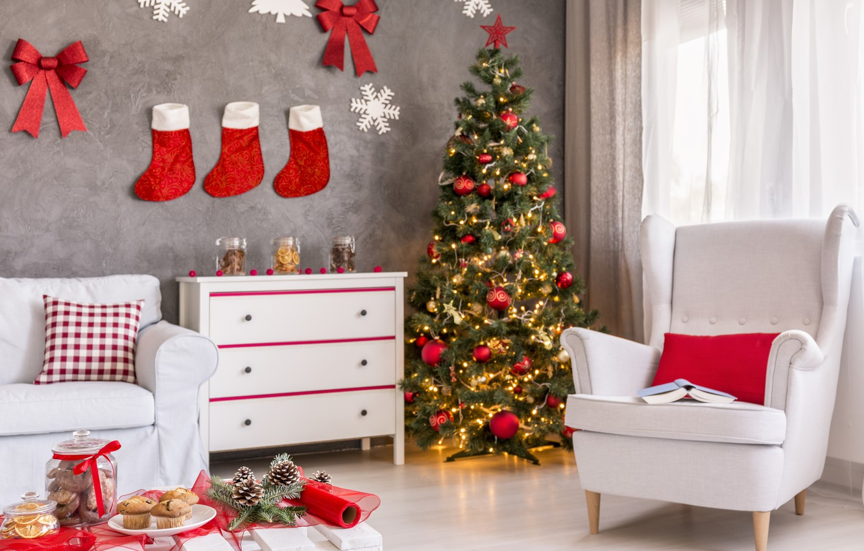 Photo wallpaper New Year, Christmas, merry christmas, interior, decoration, christmas tree, holiday celebration