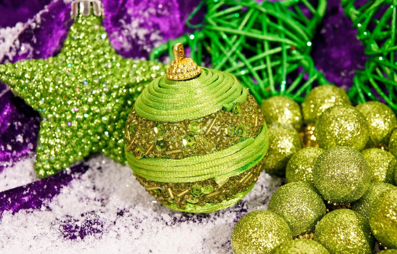 Wallpaper Decoration Holiday Balls Toys Stars Christmas New Year Shiny Green Bokeh Closeup Images For Desktop Section Novyj God Download