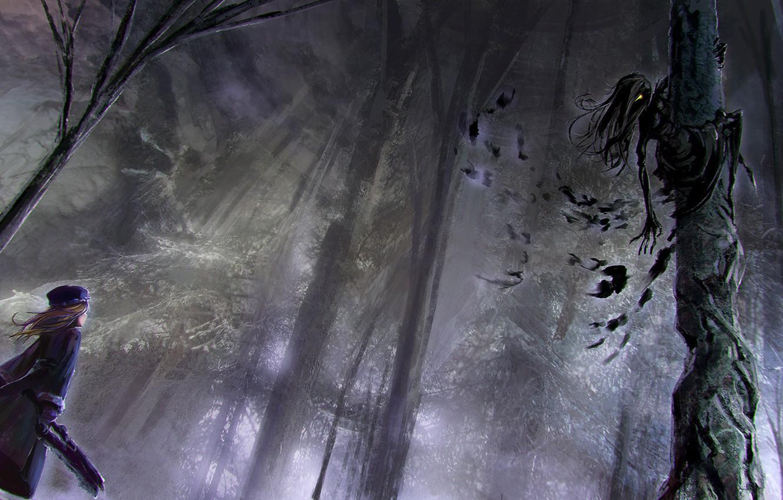 Photo wallpaper forest, monster, girl