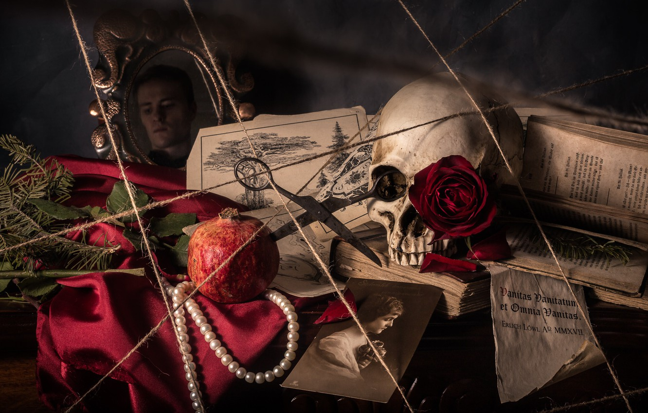 Photo wallpaper skull, portrait, necklace, rope, book, still life, scissors, garnet