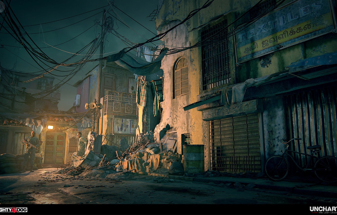 Wallpaper Bike Garbage Street Uncharted The Lost Legacy