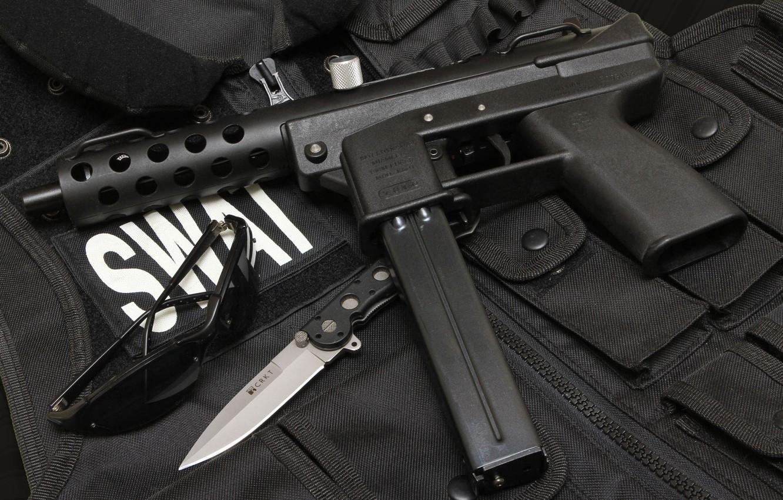 Photo wallpaper gun, knife, gun, pistol, weapon, SWAT, knife, tec9, tec-9, Tek-9, Тек9