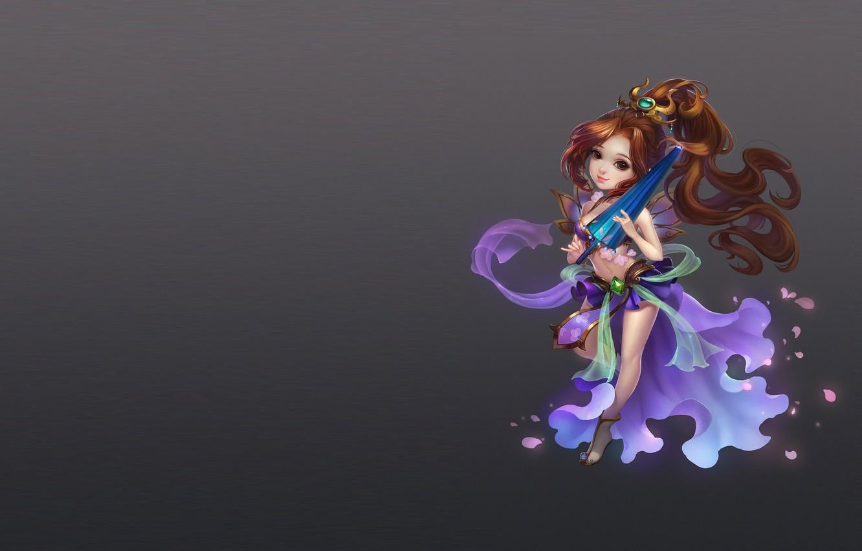 Photo wallpaper girl, umbrella, the game, anime, art, costume, Chibi, zhang wenjie