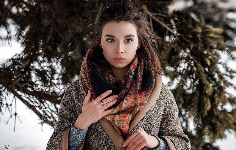Photo wallpaper winter, look, girl, snow, scarf, photographer, shawl, Model, coat, bokeh, Andrey Vechkenzin, Regina Gumerova