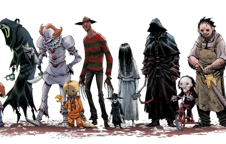 Photo wallpaper cinema, Halloween, Friday the 13th, Jason Voorhees, movie, assassin, Scream, film, Freddy Krueger, Samara, A …