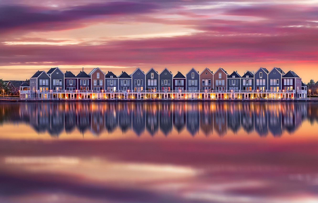 Photo wallpaper water, reflection, lights, home, the evening, morning, Netherlands