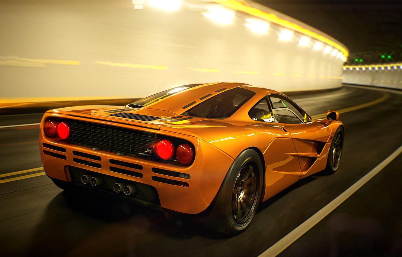 Photo wallpaper Auto, Machine, Orange, The tunnel, Art, Supercar, Mclaren, Mclaren f1, Colorsponge Carlos