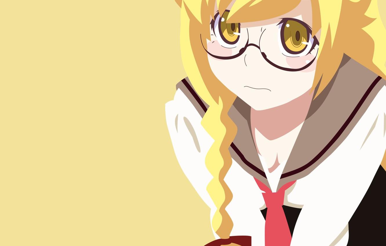 Photo wallpaper yellow, manga, bishojo, seifuku, light novel, The Shinobu Oshin, japonese, .anime, by erominimalistsensei, Monogata re …