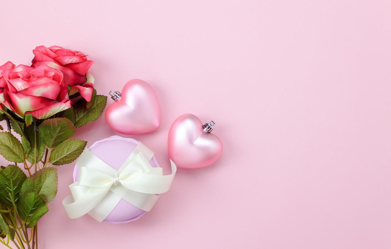Photo wallpaper love, background, pink, gift, heart, roses, bouquet, hearts, red, love, pink, romantic, hearts, valentine's day, …