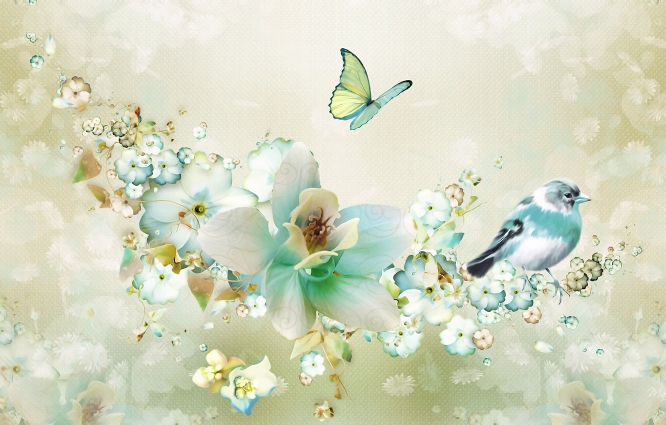 Photo wallpaper flowers, rendering, background, fantasy, collage, bird, butterfly, figure, spring, petals, picture