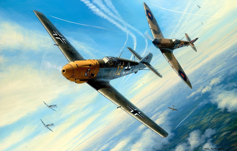 Photo wallpaper figure, Messerschmitt, Battle of Britain, RAF, Air force, The second World war, Supermarine, Dogfight, Spitfire …