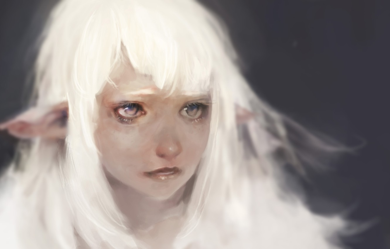 Photo wallpaper sadness, eyes, Keunju Kim, rabbit eyes, snowelf by, white hair silver eyes