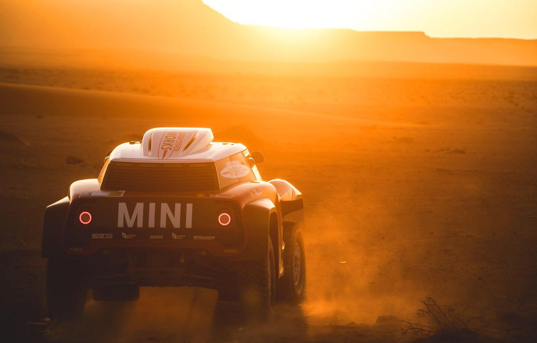 Photo wallpaper Sunset, The sun, Sand, Mini, Desert, Rally, Dakar, Dakar, Rally, Dune, Buggy, Buggy, X-Raid Team, …