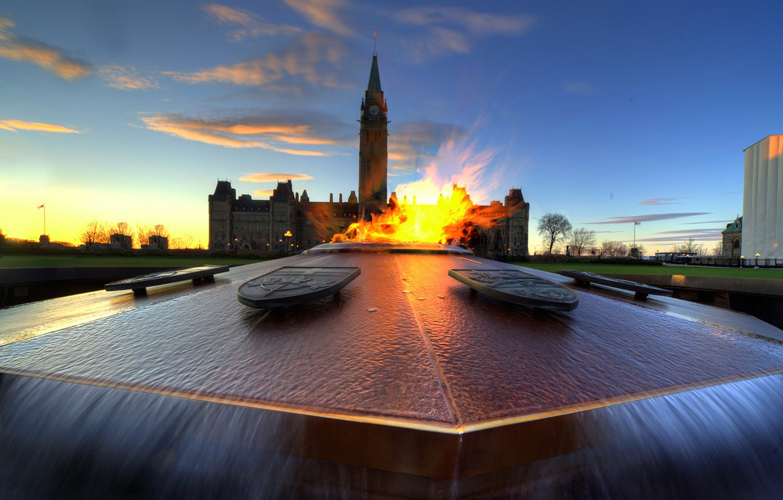 Photo wallpaper tower, Canada, fountain, Parliament, eternal flame, Ottawa