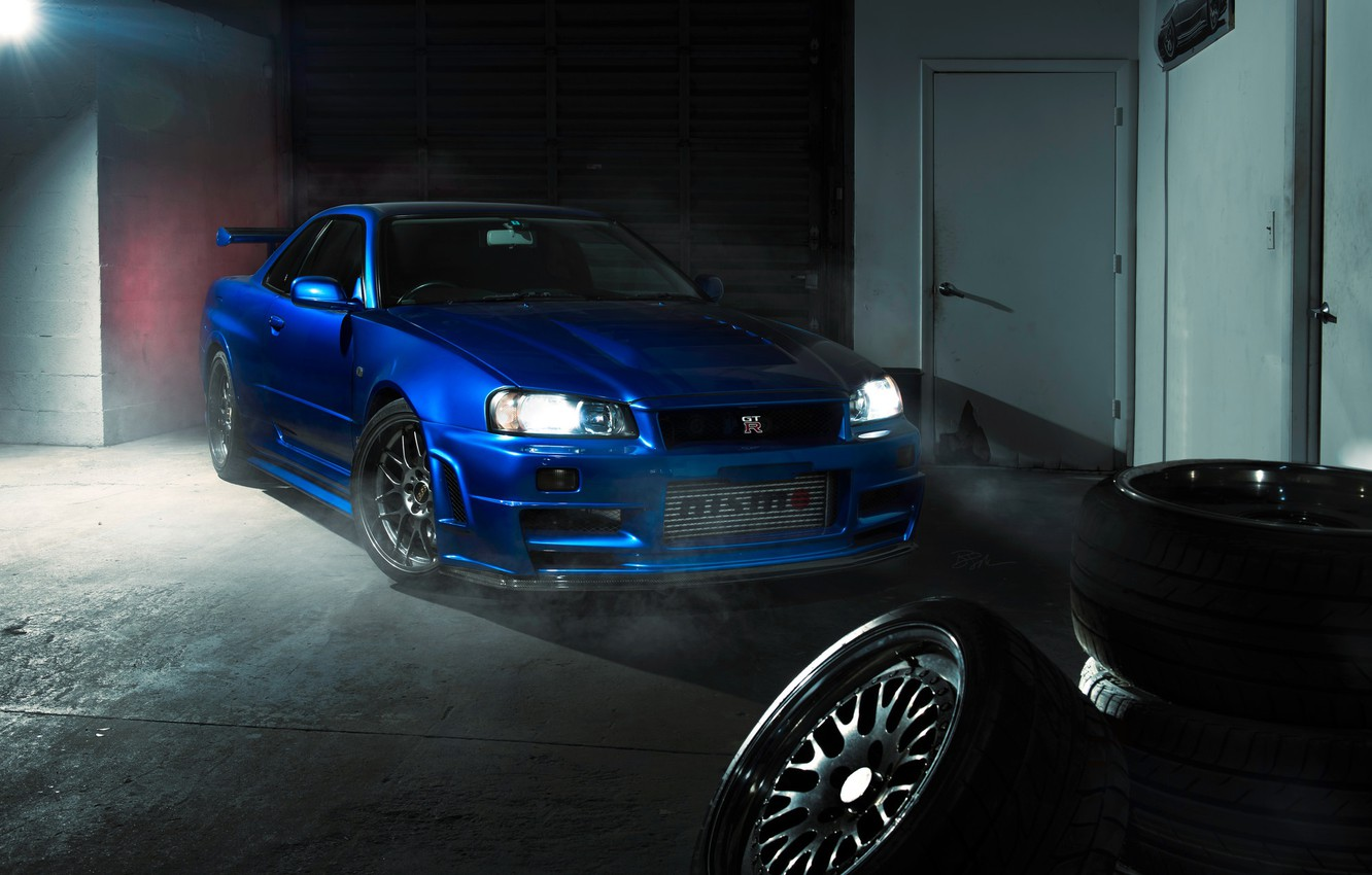 Photo wallpaper GTR, Nissan, Blue, R34