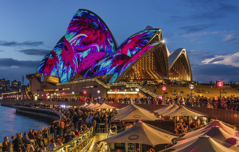 Photo wallpaper night lights, Sydney, night city, Austria