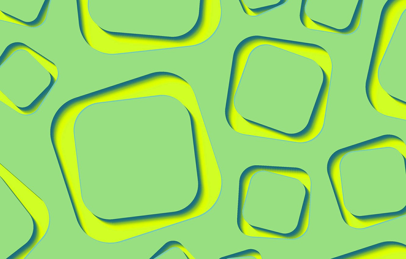 Photo wallpaper abstraction, green, wallpaper, yellow, lime, shapes, abstract 3D