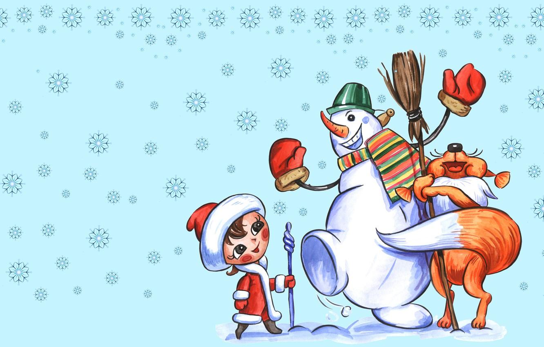 Photo wallpaper winter, snow, joy, snowflakes, mood, holiday, figure, art, New year, maiden, snowman, Fox, friends, children's