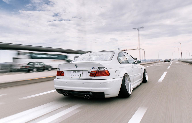 Photo wallpaper Auto, Road, White, BMW, Machine, BMW, Car, E46, BMW M3, Highway, German, BMW E46, BMW …